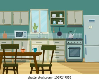 Cozy kitchen interior with furniture and stove, cupboard, dishes, fridge and utensils. Table with chairs in front. Flat cartoon style vector illustration.