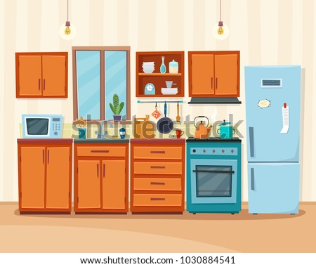 Cozy Kitchen Interior Furniture Stove Cupboard Stock Vector Royalty