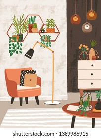 Cozy living room interior with armchair, houseplants growing in pots, shelves, lamps, home decorations. Comfortable apartment decorated in modern Scandinavian hygge style. Flat vector illustration.