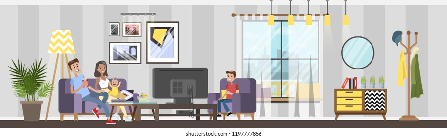 Cozy living room interior in the house. Family at home. Apartment with modern furniture and lamp. Parents sitting on the couch and wathc TV with kids. Vector illustration in cartoon style