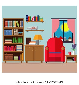 Cozy living room, a place to relax with furniture and books. Vector illustration, set.