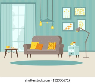 Cozy living room with sofa, bedside table with books, posters on the wall and striped wallpaper, lamp, window, balcony door. Blue, grey and yellow. Vector illustration