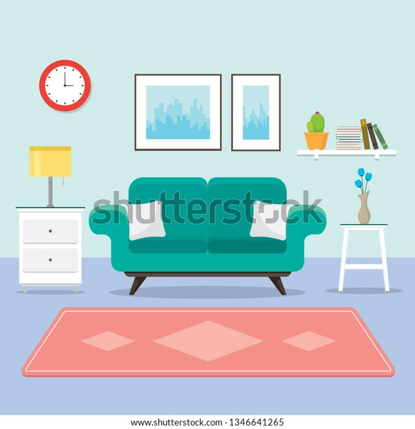 Swell Cozy Living Room Sofa Bedside Table Stock Vector Royalty Unemploymentrelief Wooden Chair Designs For Living Room Unemploymentrelieforg