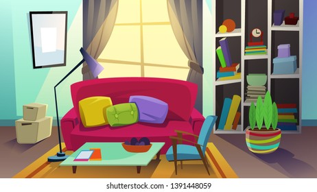 Cozy Living Room with Sofa Standing in Front of Large Window and Bookcase with Books and Different Things, Homeplant Stand in Pot. Domestic Interior, Apartment Inside. Cartoon Flat Vector Illustration