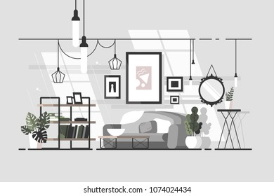 Cozy living room. Stylish interior with sofa. Vector illustration