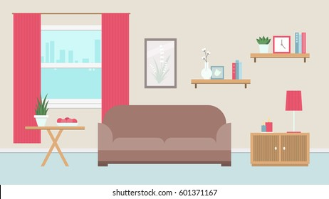 Cozy living room in warm colors with window. Vector illustration