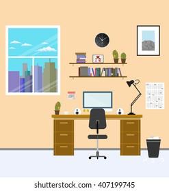 Cozy modern workplace near the window in room. Flat style. Creative office workplace