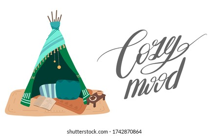 Cozy mood. Flat illustration of blanket house with ink calligraphic inscription. The mood for cosy things. Stay home. Blanket fortress. Vector horizontal card with lettering quote for articles, cards