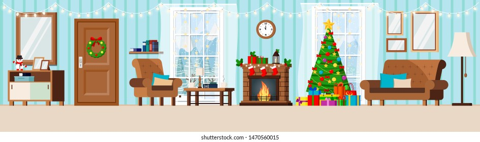 Cozy new year decorated corridor living room interior with christmas tree, fireplace, armchair, couch, cup, rack, coffe table, window with winter landscape in flat cartoon style. Vector illustration.