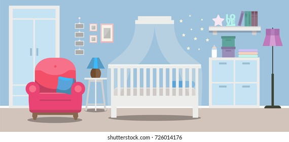 Cozy Nursery interior, baby boy's room, flat style vector illustration template