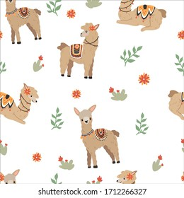 Cozy pattern with llamas on a white background for wrapping paper, textile, wallpaper or other products.