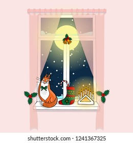 cozy pink room window with pink curtains, full moon and dark blue sky behind the glass, snowing outside, stocking, candelabrum and jingle bell decoration