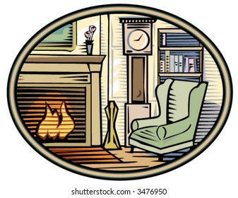 A cozy room drawn in woodcut style.