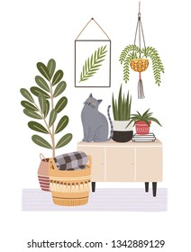 Cozy room interior with cat sitting on cupboard or sideboard, houseplants in pots, wall picture, basket. Composition with furniture and home decorations in hygge style. Flat vector illustration.