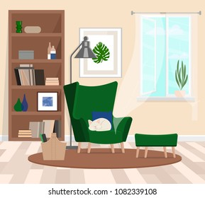 A cozy room with a large green armchair in which the cat sleeps. Open window. The atmosphere of the huggie. Vector flat illustration.