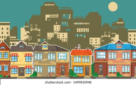A cozy suburban quarter with two-story cottages against the backdrop of gloomy silhouettes of a modern metropolis. Colored brick houses on a background of concrete skyscrapers. Vector illustration
