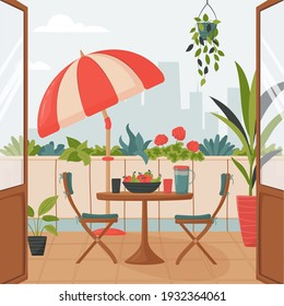 Cozy summer balcony with parasol, small table, chair and pots of flowers. Summer time Idyllic seating in the terrace with drink. Home garden and cute exterior design. Vector flat illustration.