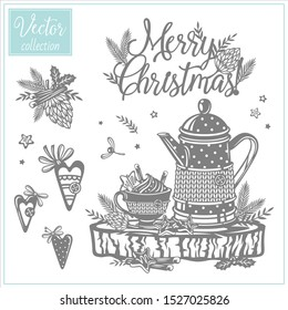 Cozy Teapot with a cup. Collection of Christmas illustrations. Hygge Christmas vector paper art and craft style. Christmas hearts, pine cone. Rustic.