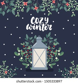 Cozy winter greeting lettering card with cute scandinavian style hand drawn illustration of lantern and eucalyptus and mistletoe branches. Merry Christmas and Happy new year banner