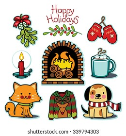 Cozy winter set, happy holiday illustration collection