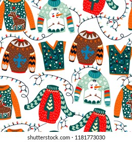 Cozy winter sweaters. Hand drawn colored vector seamless pattern