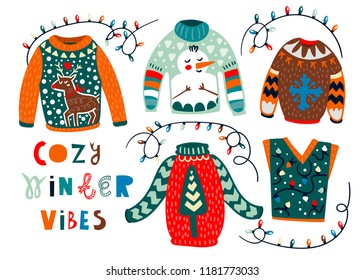 Cozy winter sweaters. Hand drawn colored vector set. All elements are isolated
