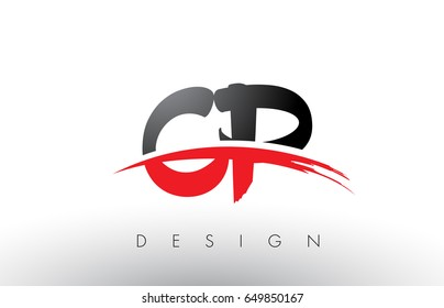 CP C P Brush Logo Letters Design with Red and Black Colors and Brush Letter Concept.