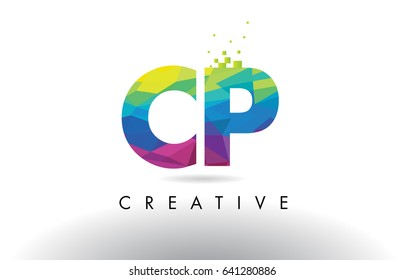 CP C P Colorful Letter Design with Creative Origami Triangles Rainbow Vector.