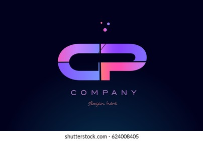 cp c p creative color blue background pink purple blue magenta alphabet letter company logo vector icon design