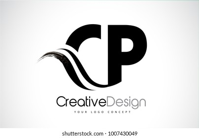 CP C P Creative Modern Black Letters Logo Design with Brush Swoosh