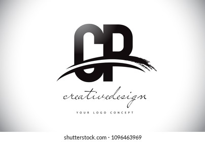 CP C P Letter Logo Design with Swoosh and Black Brush Stroke. Modern Creative Brush Stroke Letters Vector Logo