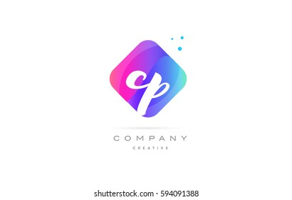 cp c p  pink blue rhombus abstract 3d alphabet company letter text logo hand writting written design vector icon template