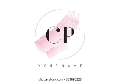 CP C P Watercolor Letter Logo Design with Circular Shape and Pastel Pink Brush.