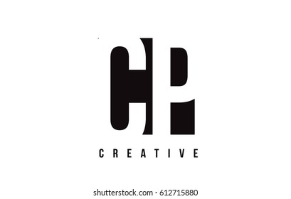 CP C P White Letter Logo Design with Black Square Vector Illustration Template.