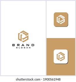 CP hexagon concept logo designs vector
