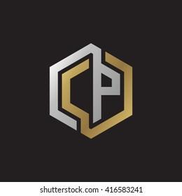 CP initial letters loop linked hexagon elegant logo golden silver black background