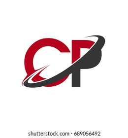 CP initial logo company name colored red and black swoosh design, isolated on white background. vector logo for business and company identity.