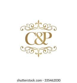 C&P Initial logo. Ornament ampersand monogram golden logo