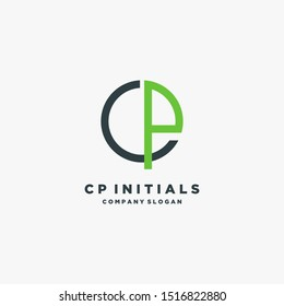 CP Letter Logo Design make from circle and with Sans Serif Font Vector Illustration. - Vector