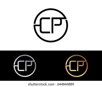Cp Logo. Letter Design Vector with Red and Black Gold Silver Colors