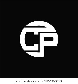 CP Logo monogram with rounded line swipe design template on black background