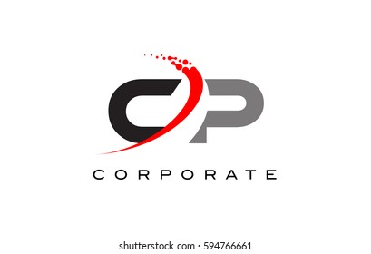 CP Modern Letter Logo Design with Red Swoosh and Dots