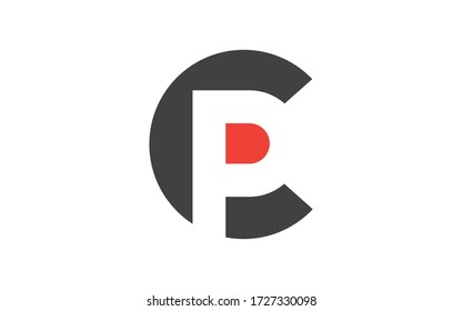 CP or PC Letter Initial Logo Design, Vector Template