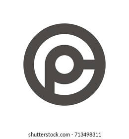 CP or PC letter template logo design vector