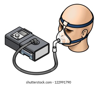 A CPAP (continuous positive air pressure) machine used in the treatment of sleep apnoea. Shown with a mask fitted over a head.