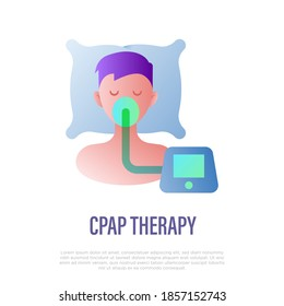 Cpap therapy for sleep apnea, insomnia. Flat gradient icon. Medical equipment. Vector illustration.