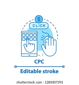 CPC concept icon. Cost per conversion. Pay per click. Idea thin line illustration. Advertising. Vector isolated outline drawing. Editable stroke
