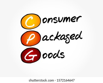 CPG - Consumer Packaged Goods acronym, business concept background