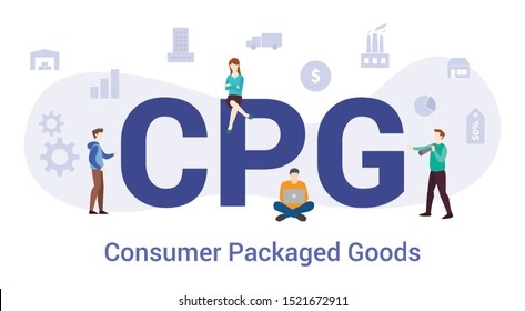 cpg consumer packaged goods concept with big word or text and team people with modern flat style - vector