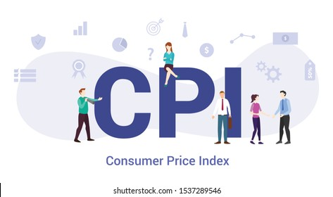 cpi consumer price index concept with big word or text and team people with modern flat style - vector